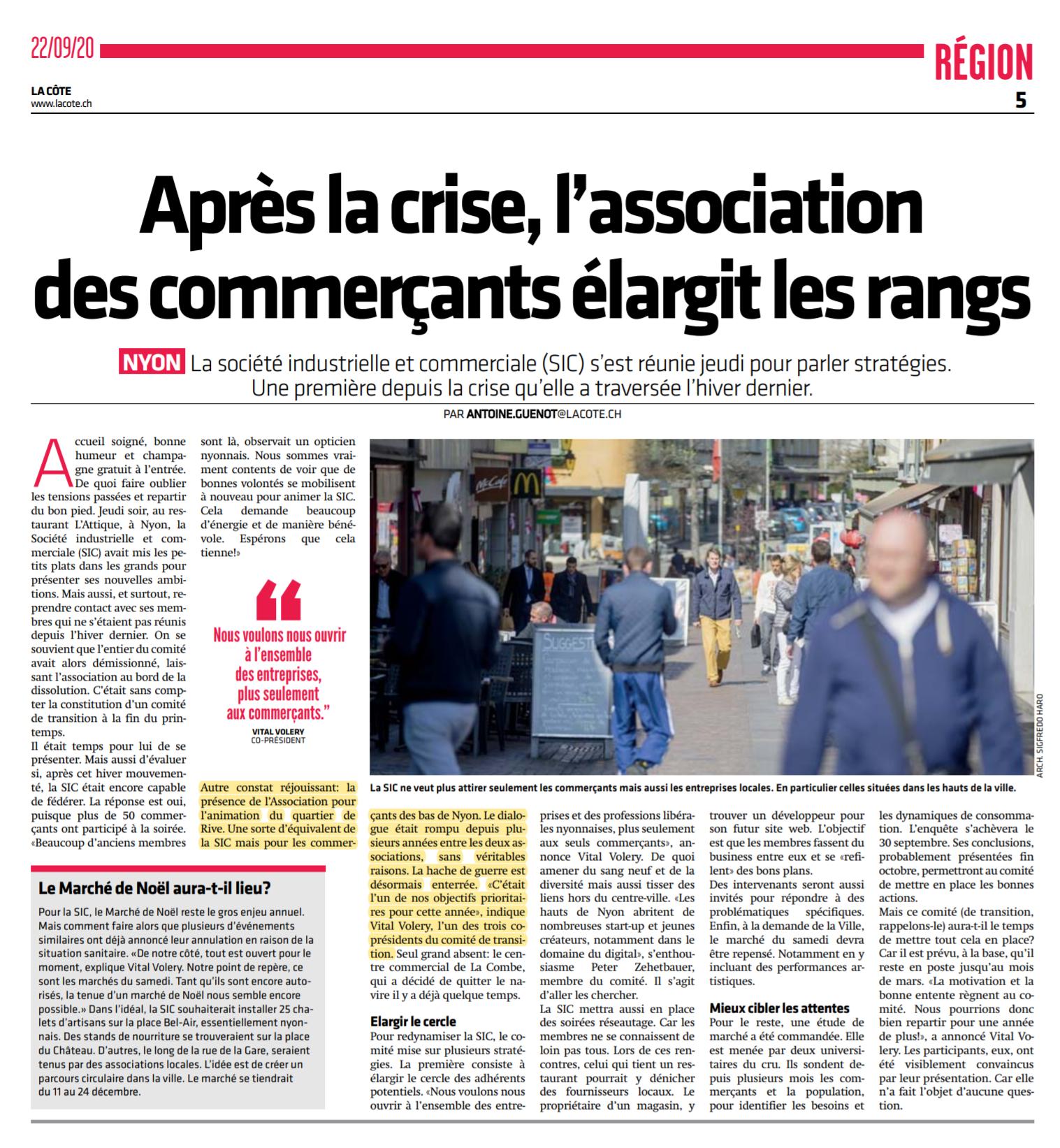 La Côte, 22.9.2020, Après la crise, l'association des commerçants (SIC) élargit les rangs