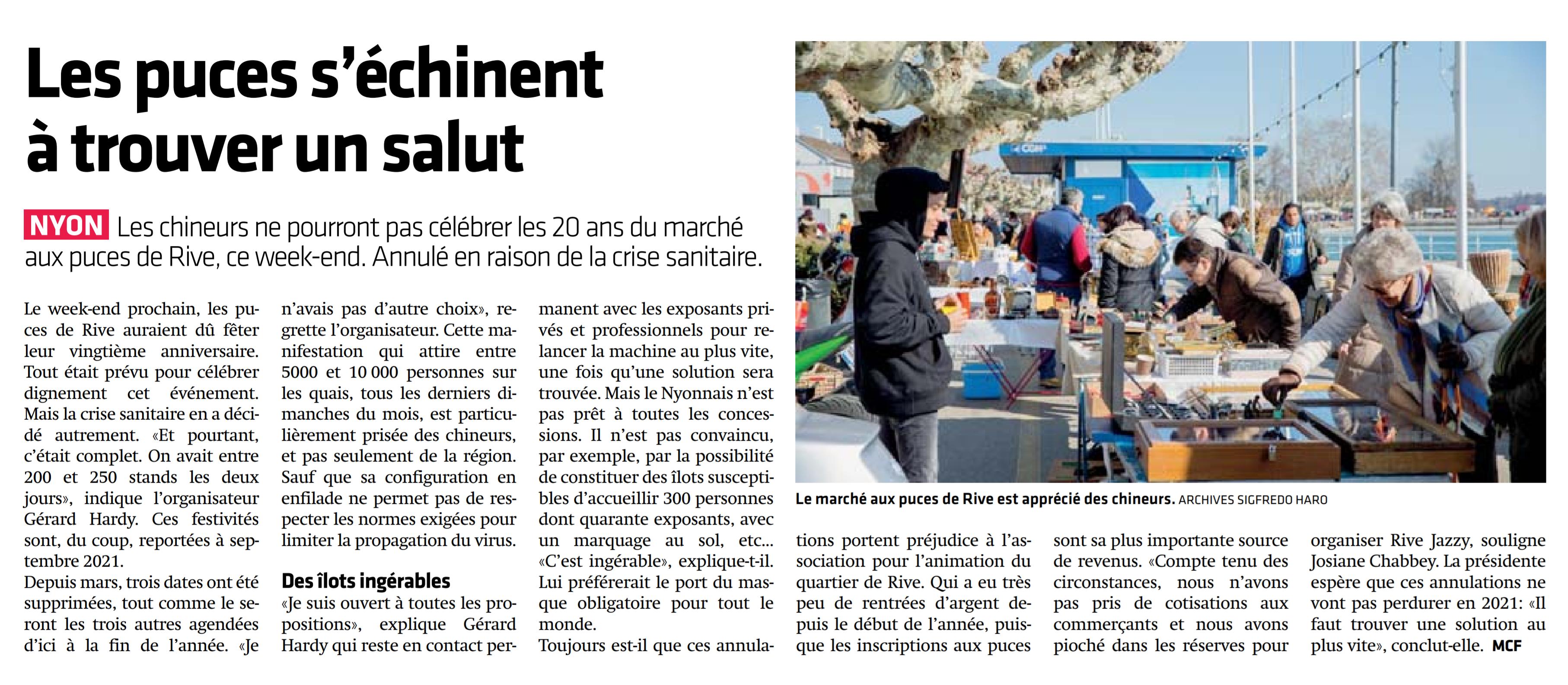 La Côte, 23.9.2020, Les puces s'échinent à trouver un salut