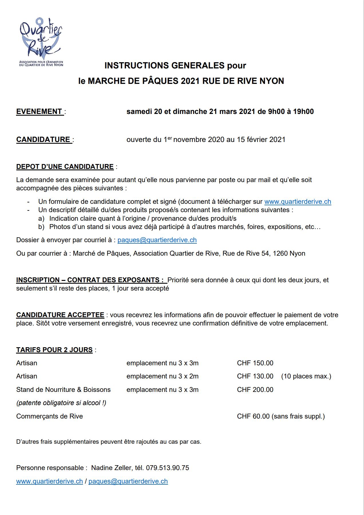 INSTRUCTIONS GENERALES pour le MARCHE DE PÂQUES 2021 RUE DE RIVE NYON