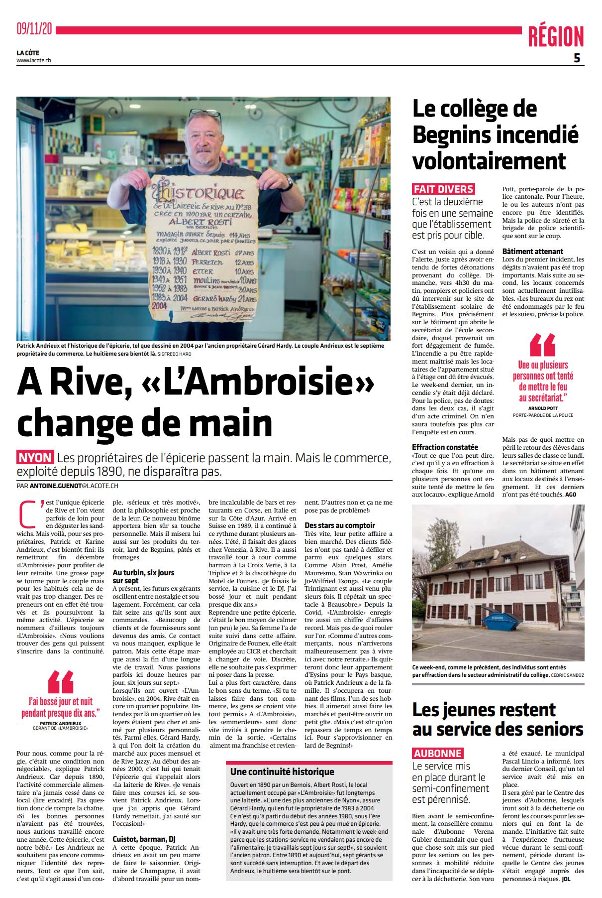 La Côte, 09.11.2020, A Rive, L'Ambroisie change de main