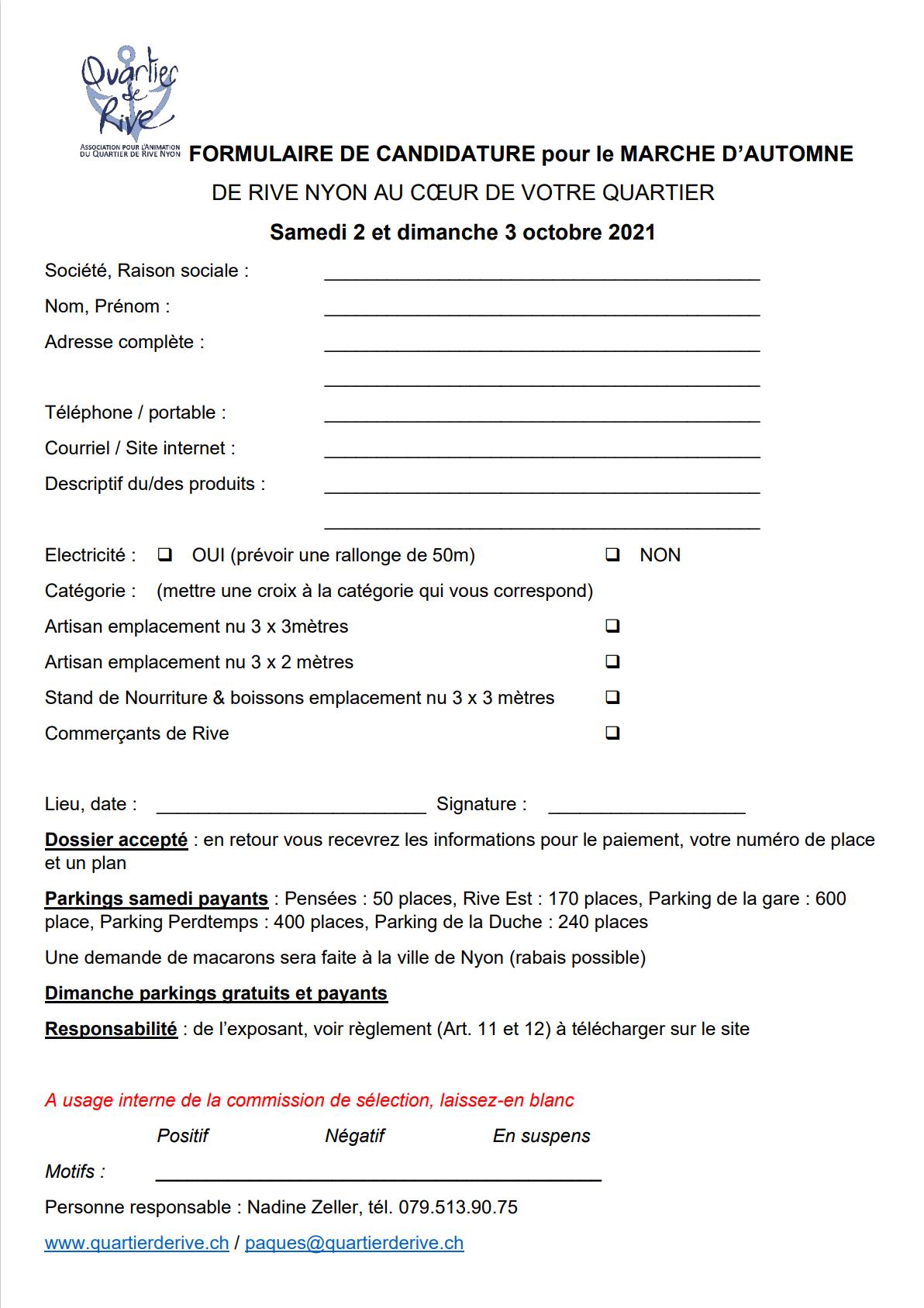 FORMULAIRE DE CANDIDATURE pour le MARCHE D'AUTOMNE 2021