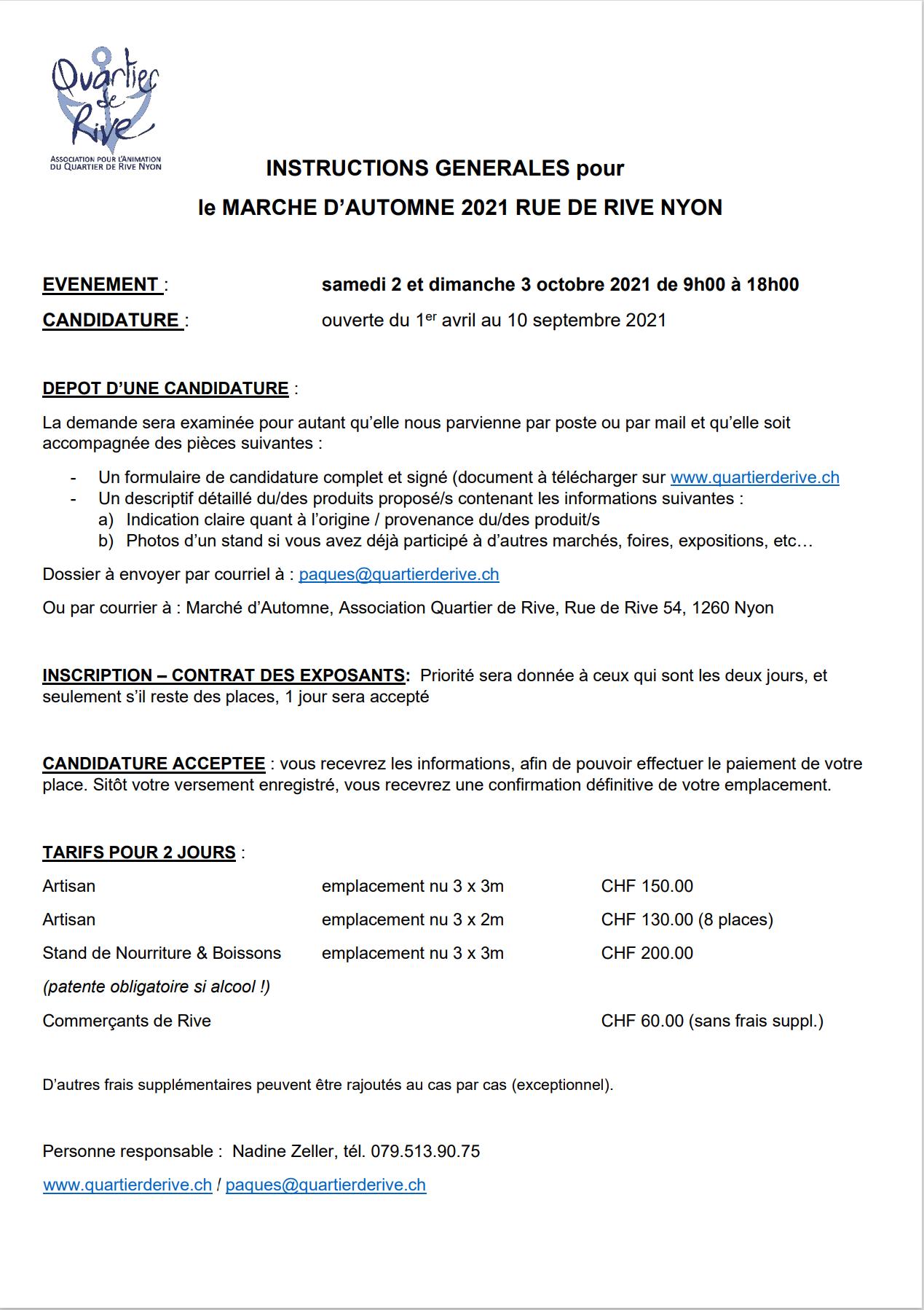 INSTRUCTIONS GENERALES pour le MARCHE D'AUTOMNE 2021 RUE DE RIVE NYON