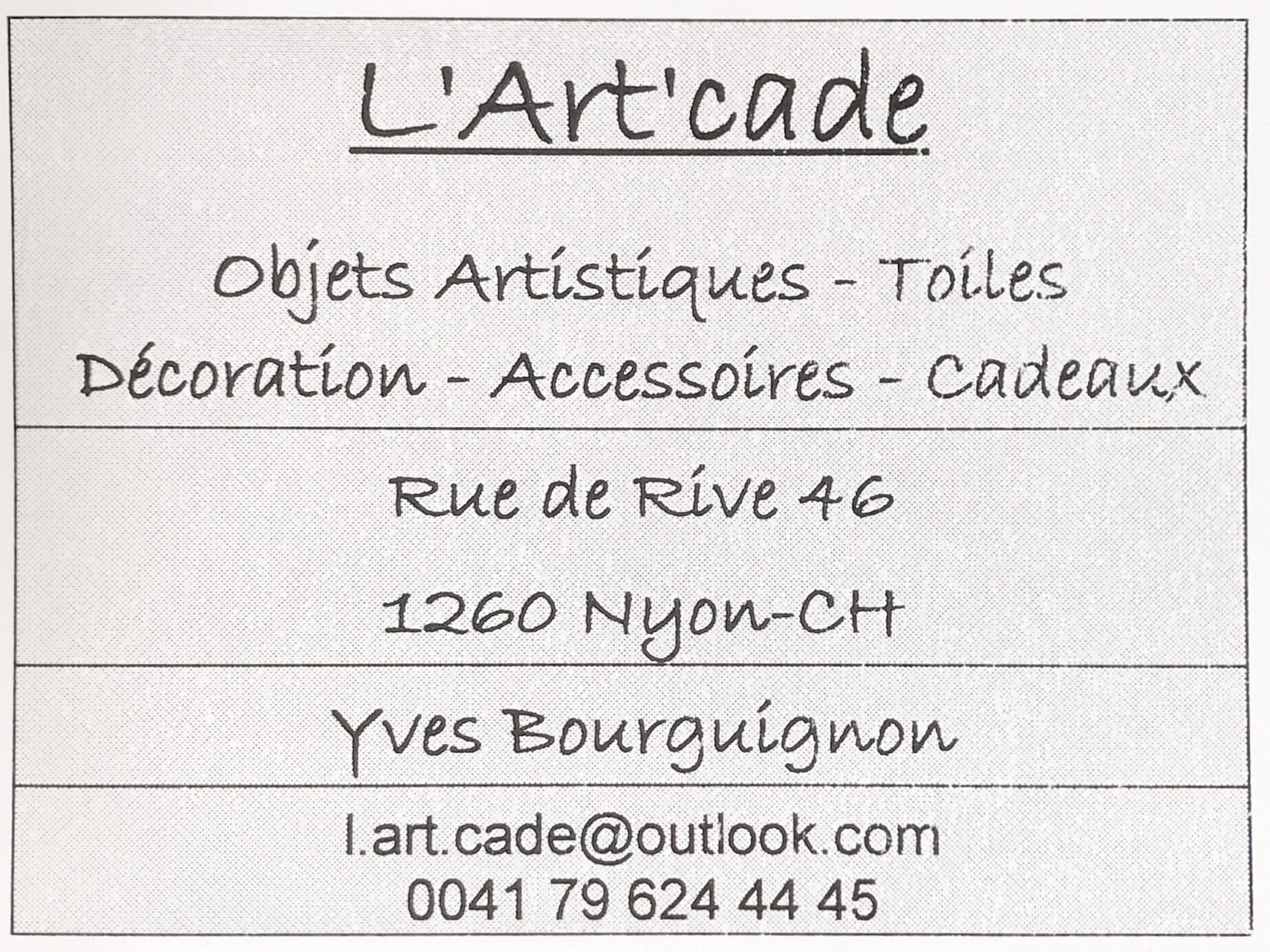 Carte de visite L'Art'cade - Rue de rive 46, Quartier de Rive, Nyon