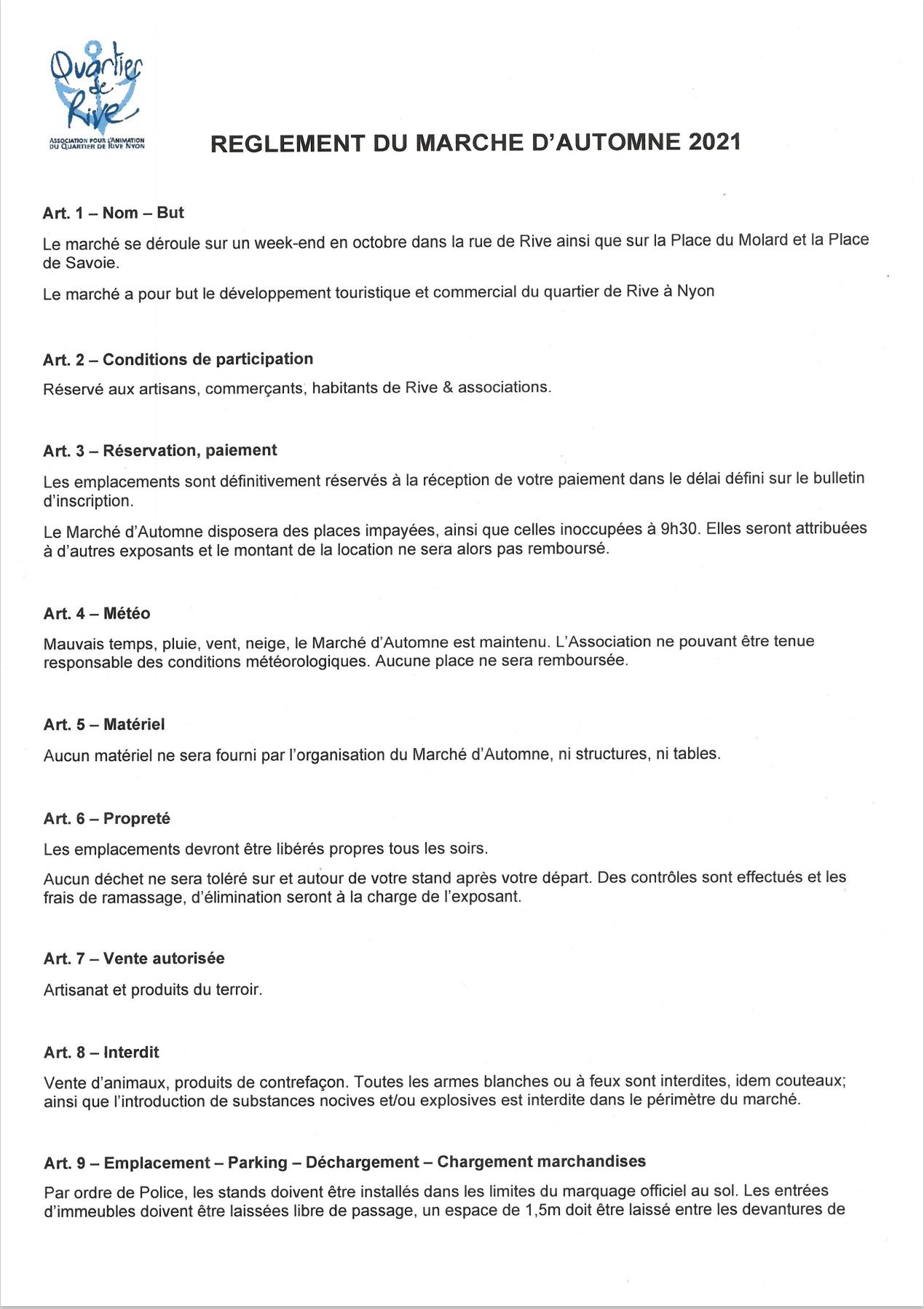 REGLEMENT DU MARCHE D'AUTOMNE 2021 avec signature 1
